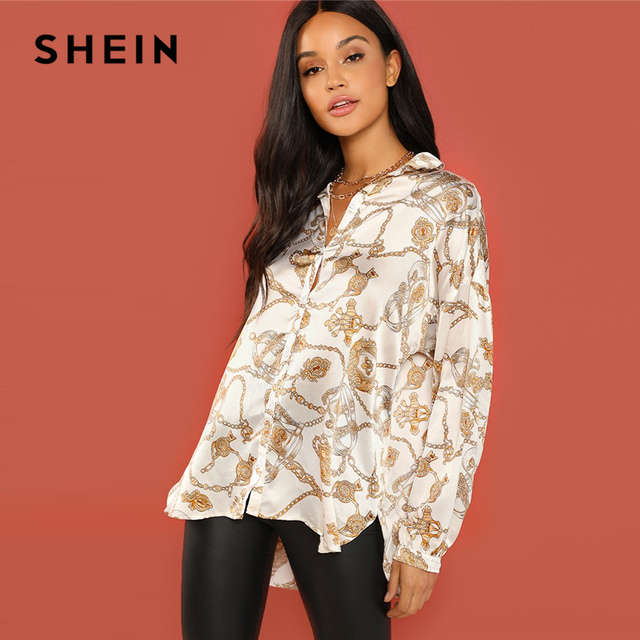 5f2f089f14ae4 SHEIN White Casual Chain Print Button Stand Collar Long Sleeve Satin Shirt  2018 Autumn Office Lady Women Tops And Blouses