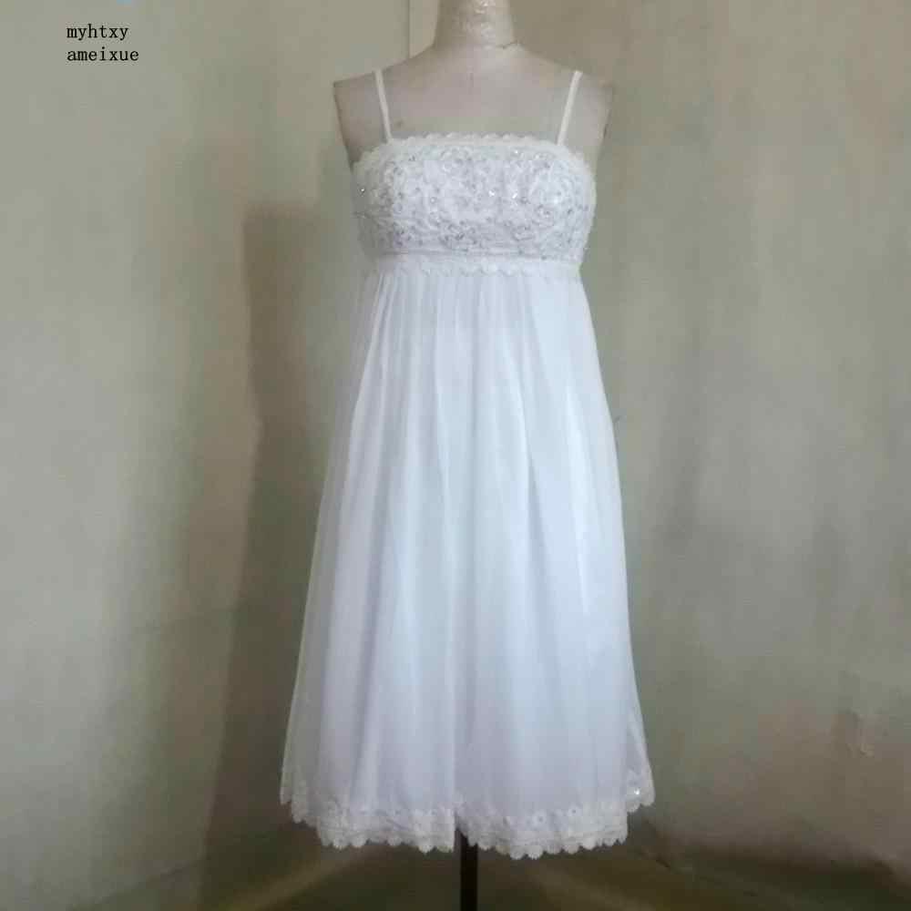 2018 vestido de Noiva Chiffon Strapless Mid-bezerro Zipper A Linha de Spaghetti Tiras Boho Vestidos de Casamento Baratos Made In China China Nupcial vestidos