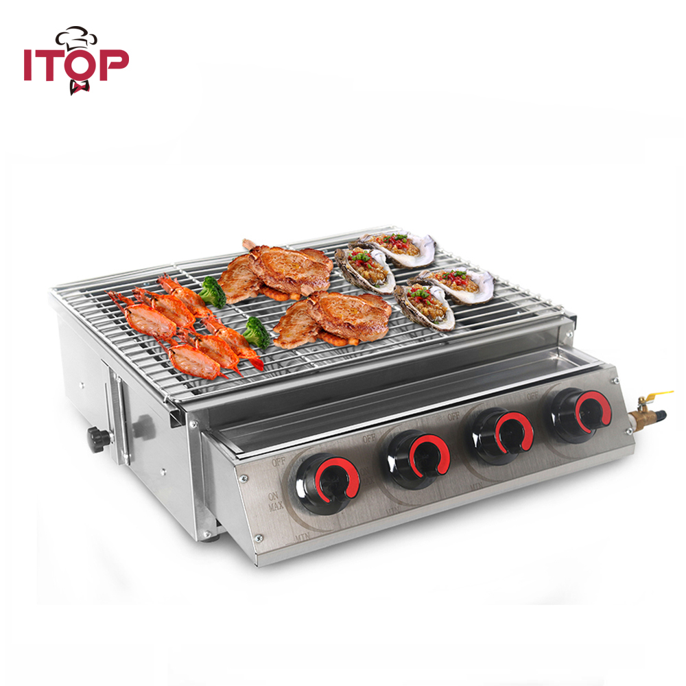 ITOP 4 Burners LPG Gas BBQ Grill Stainless Steel Barbecue With Glass Shield For Outdoor Picnic Roasting Tool