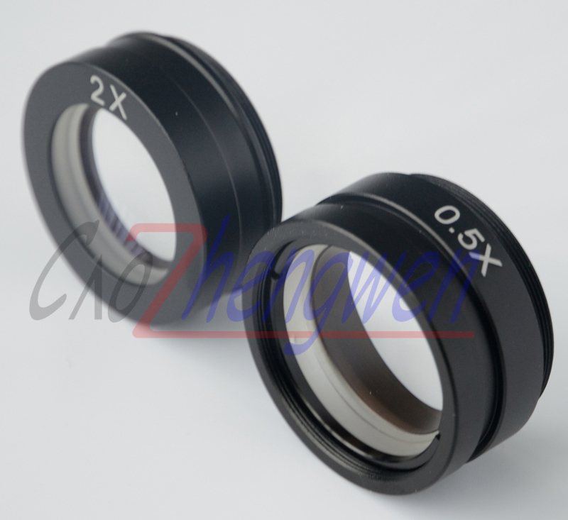 FYSCOPE 2pcs/lot 0.5X & 2.0X industry microscope Camera Objective lens for ZM45 C-MOUNT lens Barlow Auxiliary Glass Lens