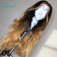 Покраска методом Омбре человеческие волосы парик кружева передние парики предварительно сорвал с Детские волосы индийские Реми волнистые