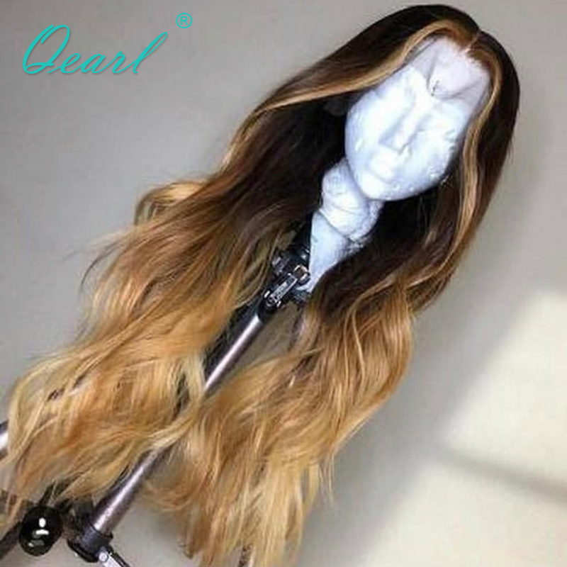 Ombre Colored Human Hair Wig Lace Front Wigs Pre plucked with Baby Hairs Indian Remy Wavy Hair for Women 13x4 Middle Part Qearl