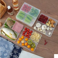 5Pcs 3 Compartments Meal Prep Container Lids Food Storage crisper Box Stackable Microwavable Home Kitchen Dinnerware Supplies