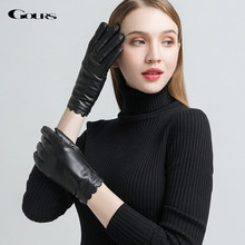 Gours Womens Genuine Leather Gloves Fashion Brand Black Sheepskin Touch Screen Finger Gloves Warm In Winter New Arrival GSL070