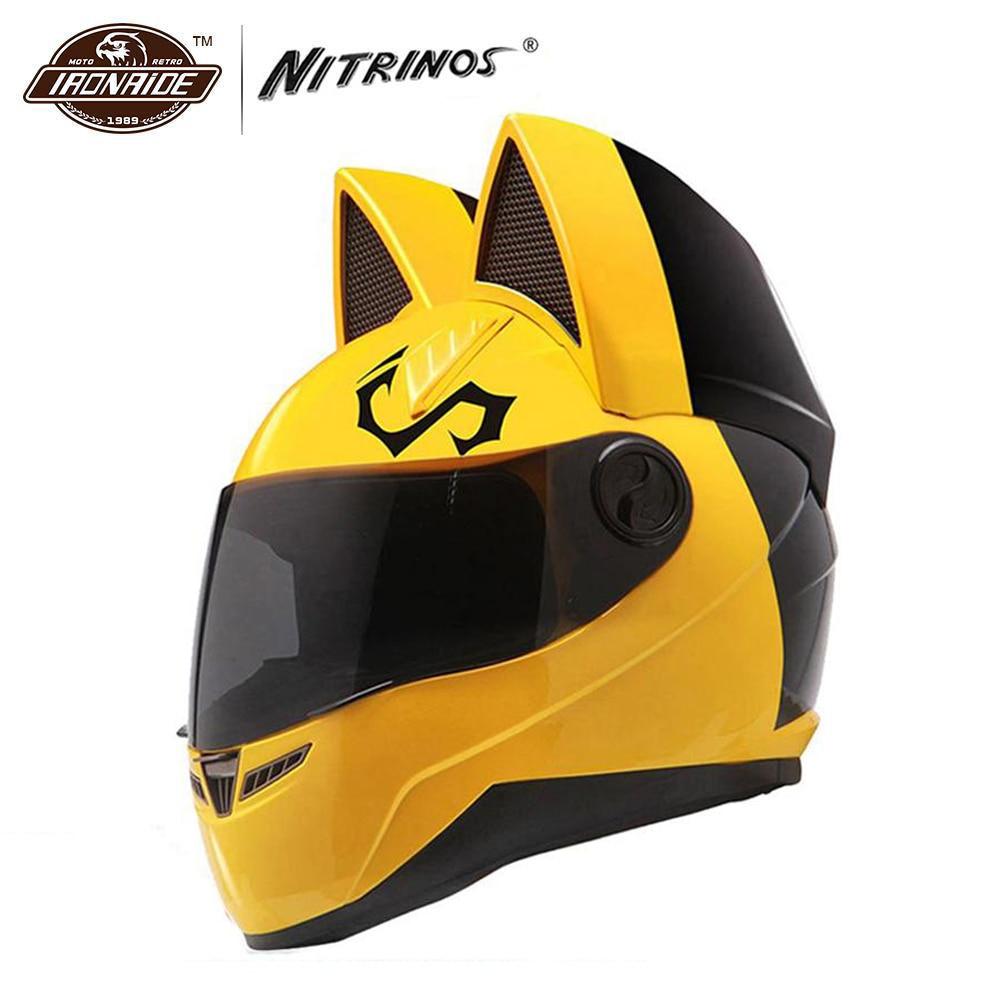 NITRINOS Moto Casco Casco Moto Casco Cat Casco Integrale Viso Casque Moto Casco Gatto Corna Moto Casco Capacete