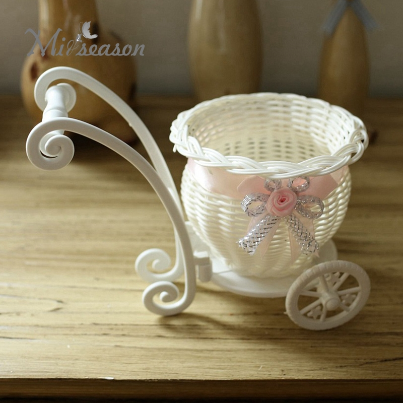 Creative Design Round Basket Rattan Floats Mini Wheel Flower Vase  Containers Small Flower Bike/Flower Pot For Home Decoration In Vases From  Home U0026 Garden On ...