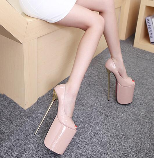 Manmitu 9-бесплатная доставка Экстрим Высокой 23 см Vogue Одноместный Обувь Женская Платформа Насосы Peep Toe Sexy Высокие Каблуки Zapatos Mujer