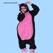 Black pink pig Unisex Pajamas Party Clothing For Women Man Kigurumi Adult Pyjamas