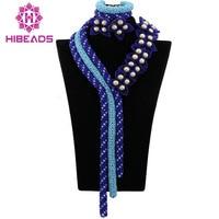 2017 Marvelous African Bridal Jewelry Set Big Nigerian Wedding Costume Crystal Beads Statement Necklace Set Free Shipping ABK852