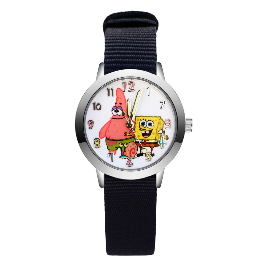 Fashion Cute SpongeBob style Children's Watches Kids Student Girls Boys Quartz Nylon strap Wrist Watch JA136