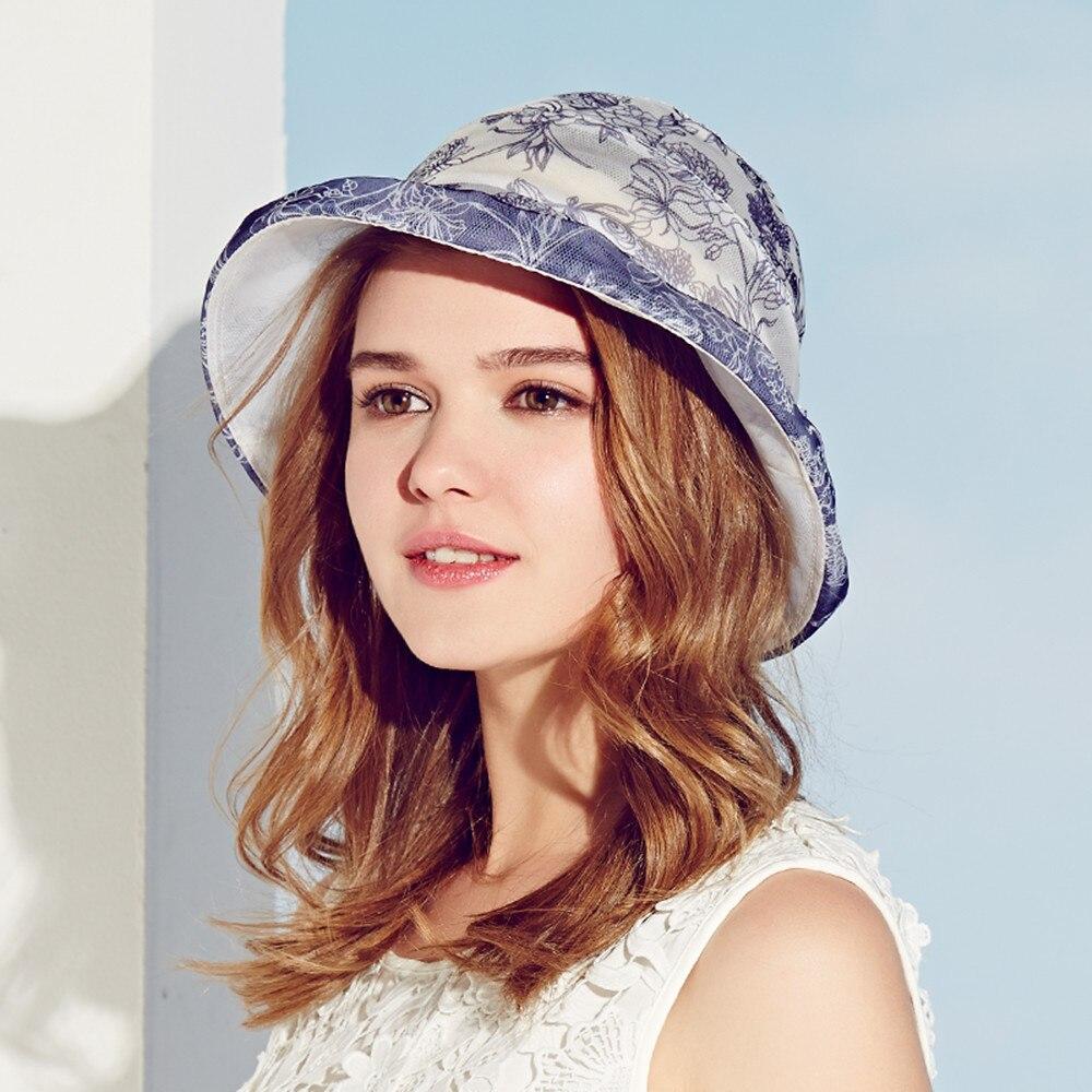 Kenmont Hat Bucket Hat Spring Summer Real Silk Printing Women Lady Beach Sun Hat Comfortable Vocation Sun Cap 3038