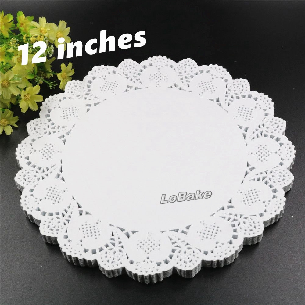 160pcspack new 12 inches round flower shape white hollow design paper lace doilies placemat cup mat kitchen table mats - Kitchen Table Mats