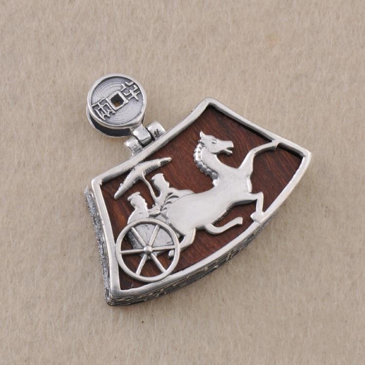 S925 silver ebony inlaid with silver pendant carriage lock retro personality silver silver s925 pure silver natural pearl retro personality
