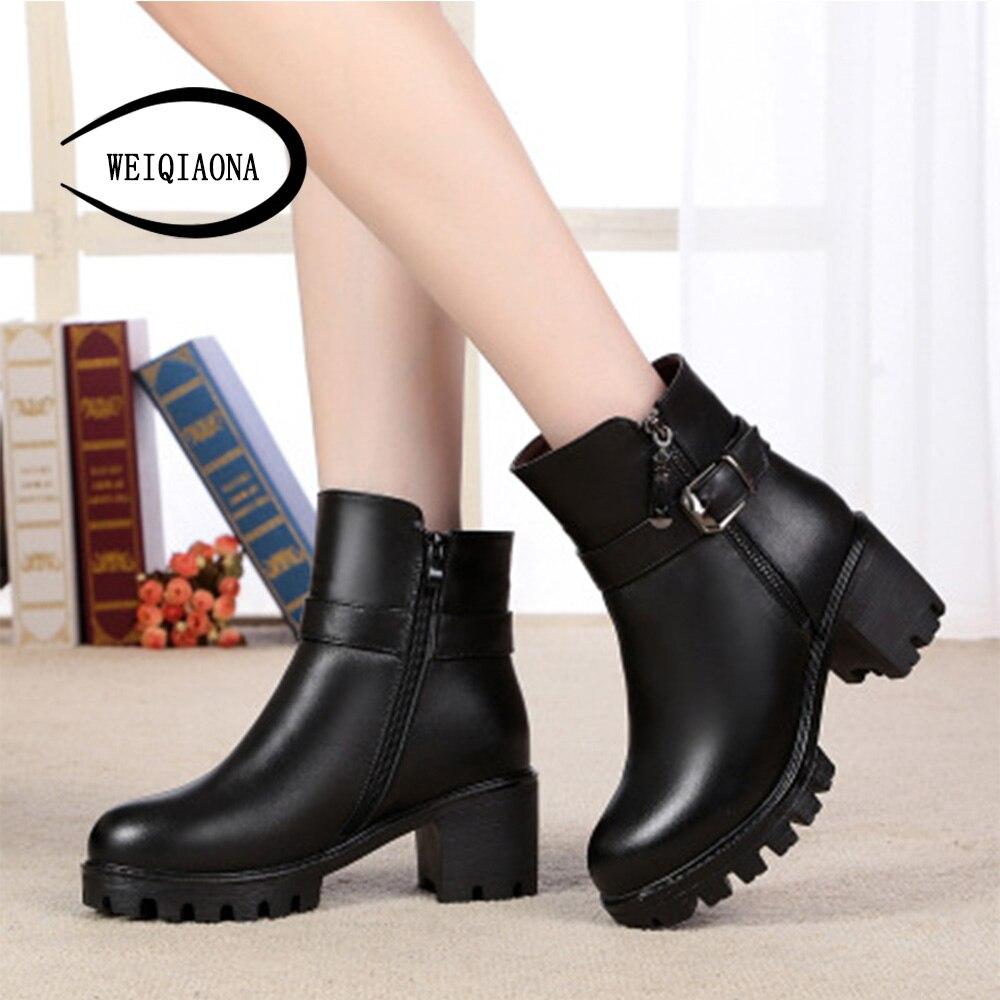 Ronde Femmes Hauts Hiver Dames brown 2019 Grande De Vintage Bottes Chaussures Weiqiaona 35 Neige Taille Noir Court 43 Mode Talons qO5FwB