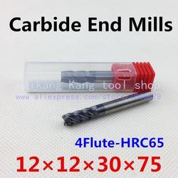 Nowy 4 flet głowy: 12mm wolframu stali frez frezy z węglika do cięcia CNC frezowanie najwyższej twardość: 65HRC 4F12*12*30*75mm