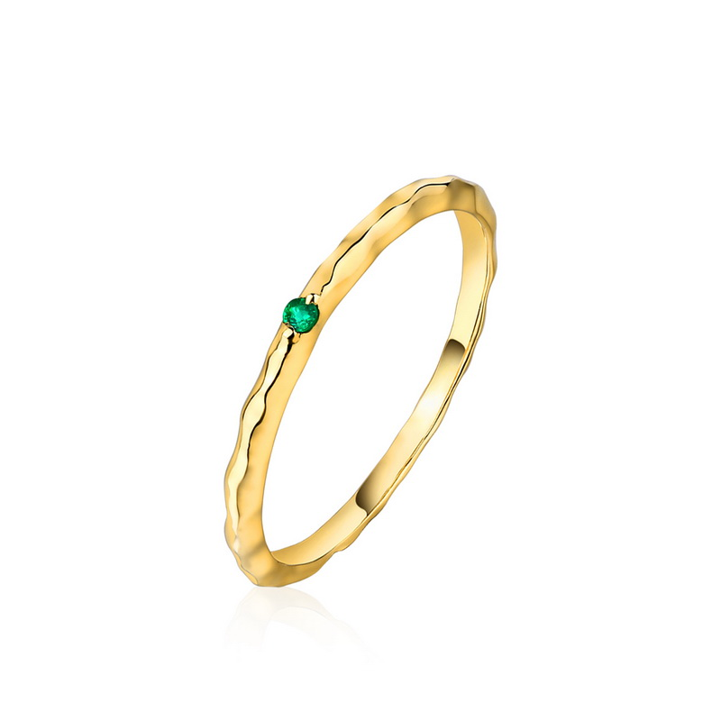 JXXGS Fashion 14k Gold Thin Ring Blue Topaz/ Green Zircon/ White Zircon Ring For Women Daily Wear