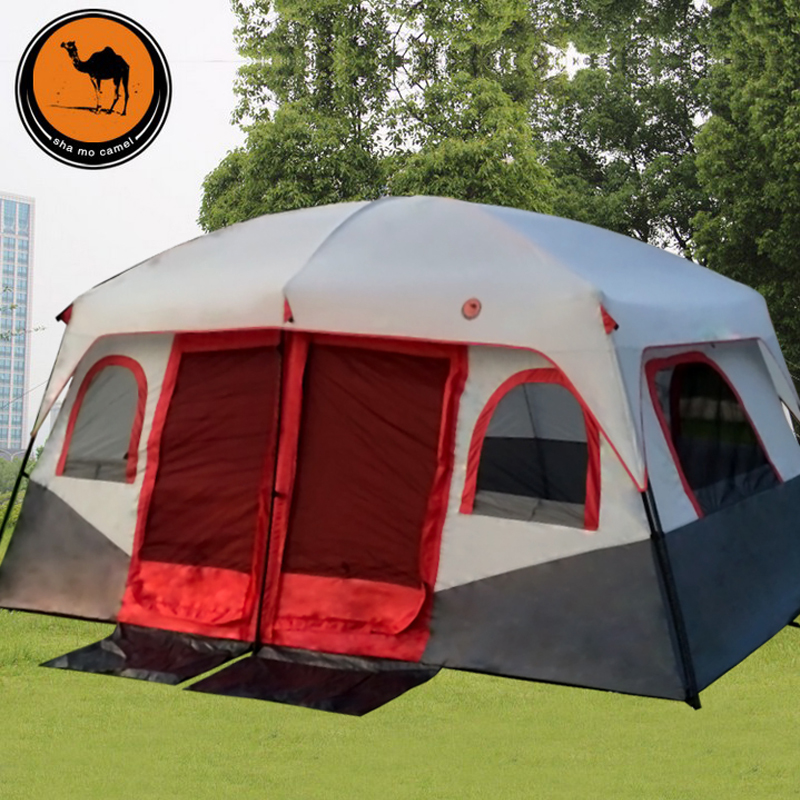 2015 New pattern 1hall 2 Bedrooms high quality large space 6 8 10 12 Ershiyiting people big outdoor travel family camping tent otomatik çadır