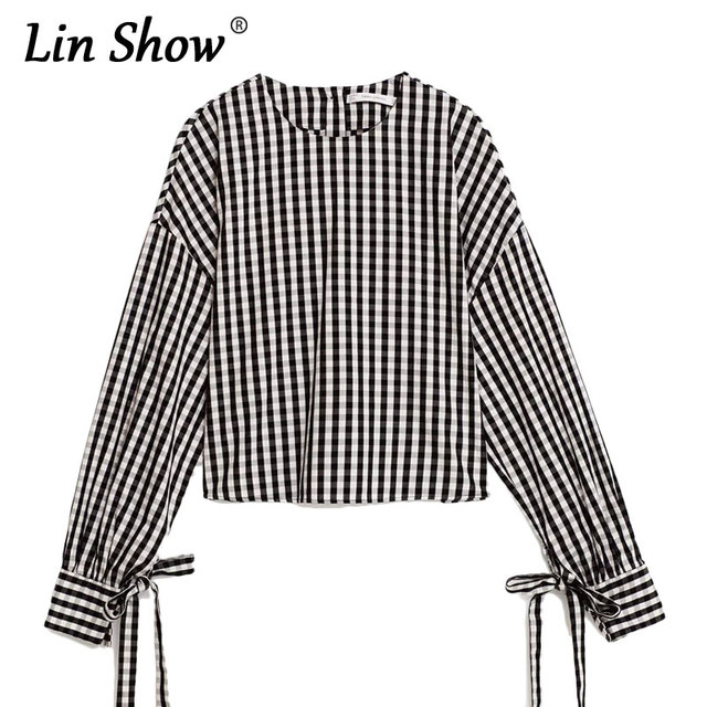 2fb0542afc3fe LINSHOW Fashion Plaid Back Button Design Women Blouses Bow Long Sleeve  Round Neck Crop Tops Pullover Casual Cotton Ladies Shirts