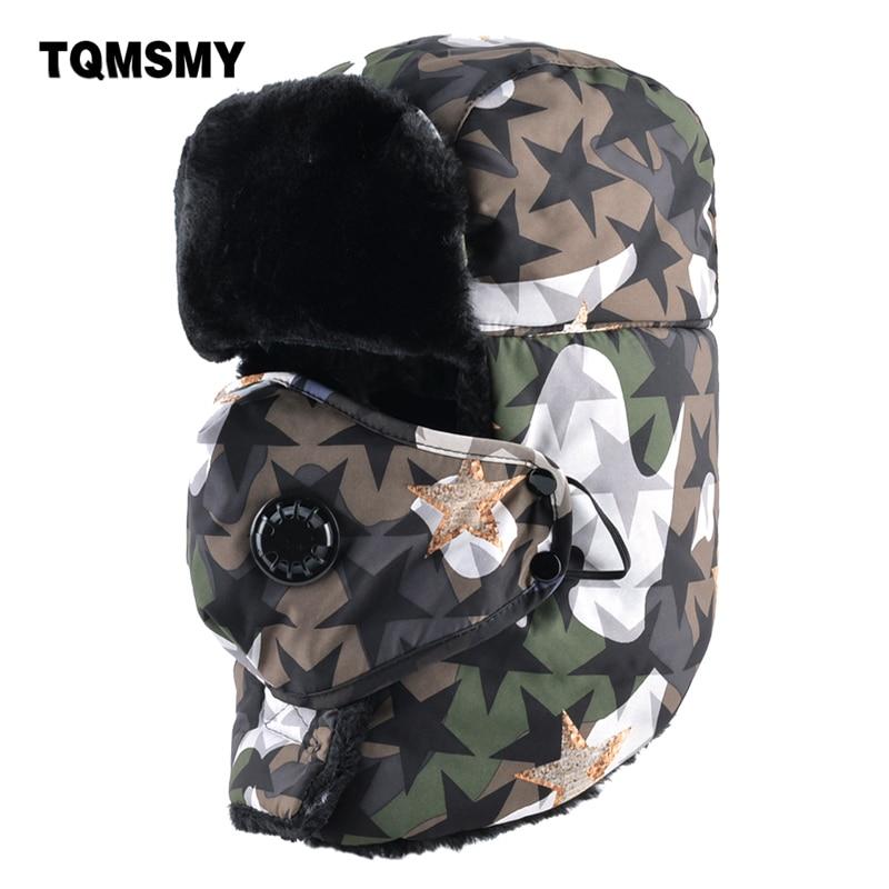 TQMSMY cappello del Camuffamento degli uomini bomber cappelli di inverno  maschere di protezione spessore caldo paraorecchie bone russo all aperto da  neve ... 3ac333d59003