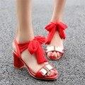 2016 Real Venda Sandalias Mujer Senhoras Sapatos Além de Grande Tamanho 34-45 Sandálias Senhoras Da Forma Da Senhora Sapatos de Salto Alto Mulheres Bombas T512