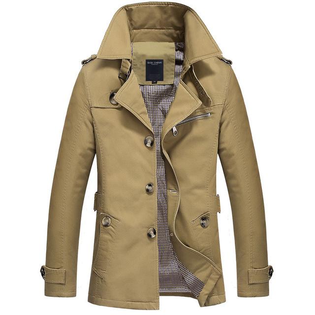 2016 Mens Trench Coat 5XL Jaqueta Outono Roupas Blusão Longo Trenchcoat Sobretudo Dos Homens Slim fit Marca Masculino Negócio EDA216