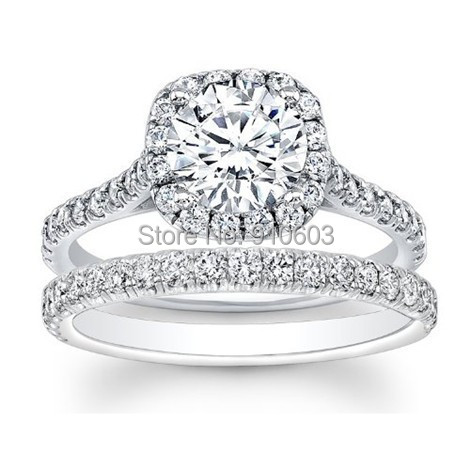 Brilliant Round Cut 2 Carat Simulated Diamond Halo Engagement Rings Real 9k White Gold Wedding