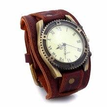 b66561801eb Gnova platinum new vintage retro ampla pulseira de couro genuíno relógio  dos homens moda superfície lisa relógios pulso pulseira.