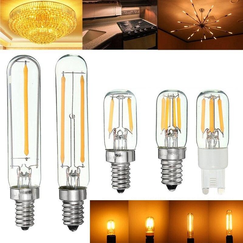 Dimmable Vintage Edison COB LED Light Bulb E12/E14/G9 1W/2W Tubular Refrigerator Fridge Filament Retro LED Light Bulb 110V/220V