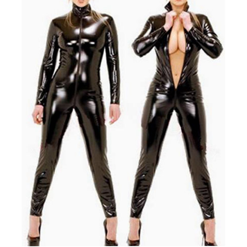 2018 Hot high quality Polished leather women bodysuit top XS-6XL plus size catsuit linge ...