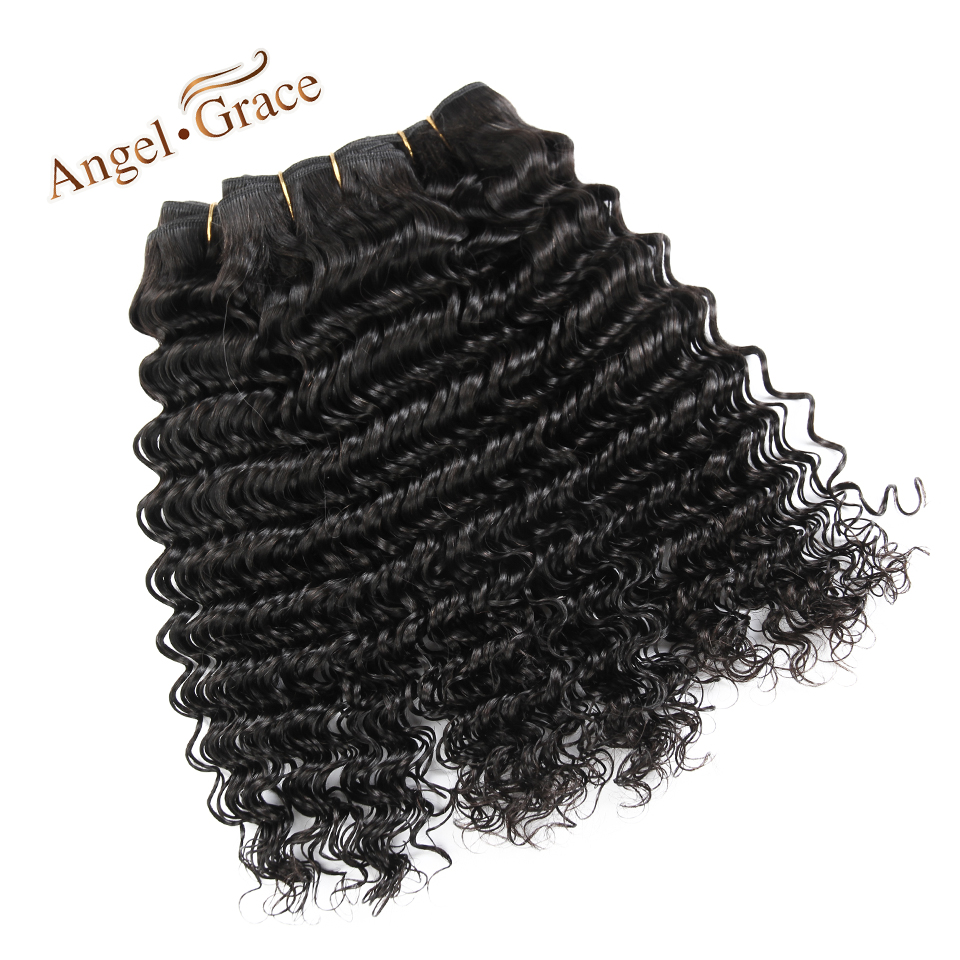 Angel Grace Hair Peruvian Hair Deep Wave 3 Bundles Weave Remy Hair Natural Color Human Hair Extension Free Shpping