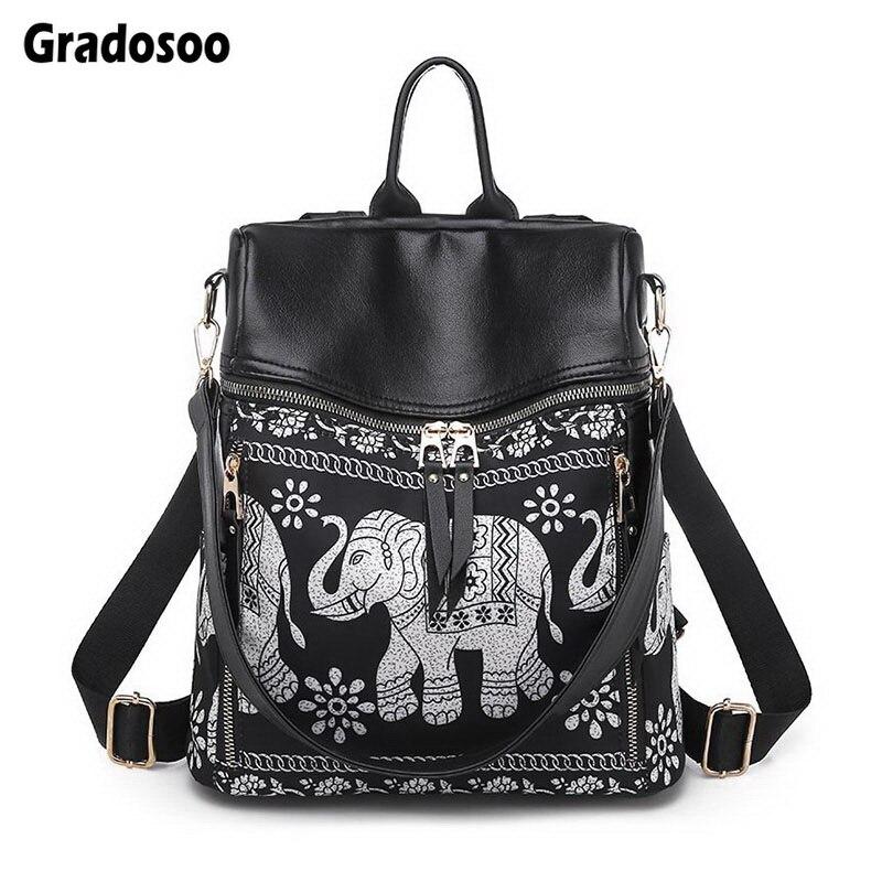 Gradosoo Elephant Pattern Backpack Women PU Leather Schoolbag Female Panelled Shoulder Bag Multifunction Fashion LBF595