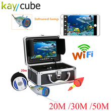 Kaycube HD WIFI Wireless 20M 30M 50M Underwater Fishing Camera Video Recorder WIFI Fish Finder Monitor Ice/Boat For IOS Android hd 720p wifi wireless 15m underwater fishing camera video recording for ios android app supports video record aluminum alloy