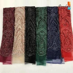 Image 2 - Bourgogne Kim Sa Lưới Vải Ren Màu Rượu Vang Châu Phi Nữ Giới Nigeria Váy áo May Chất Liệu Cổ Điển Thiết Kế Lưới Vải