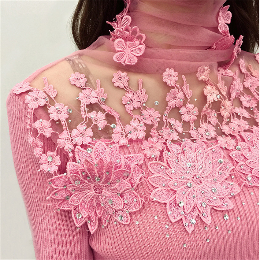 New Women Turtleneck Sweater Autumn Winter Mesh Patchwork Knitted Pullovers Flowers Butterfly Basic Sweaters Female Tops AB700