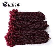 Eunice волосы для плетения синтетических волос 20 прядей/упаковка 12 дюймов Гавана твист Средний размер Омбре Фиолетовый крючком бриады