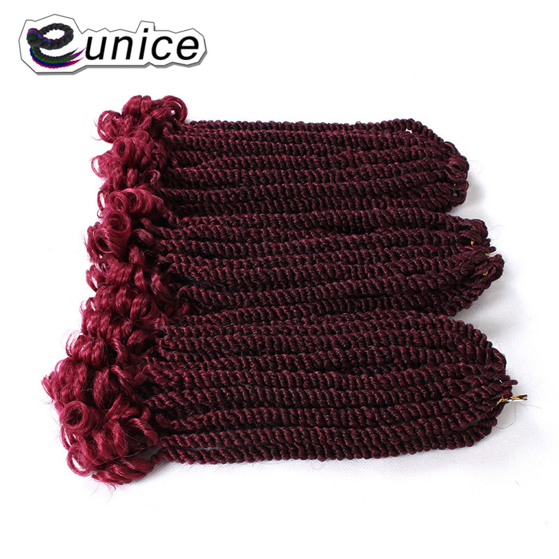 Eunice Hair For Braiding Syntheic Hair 20strands / pack 12 pulgadas Havana Twist Tamaño Medio Ombre Morada Brochas de ganchillo