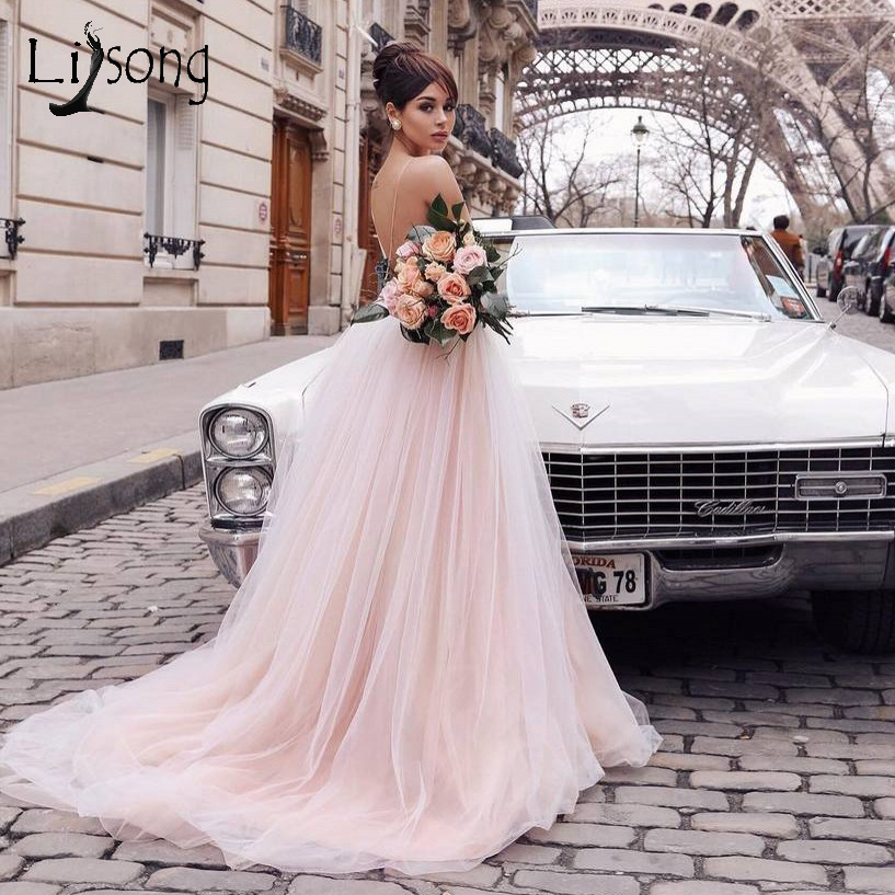 Romantic Blush Pink 3D Flower Tutu Wedding Dresses 2019 Sexy Backless V-neck Beach Bridal Gowns Champagne Lace Wedding Gowns