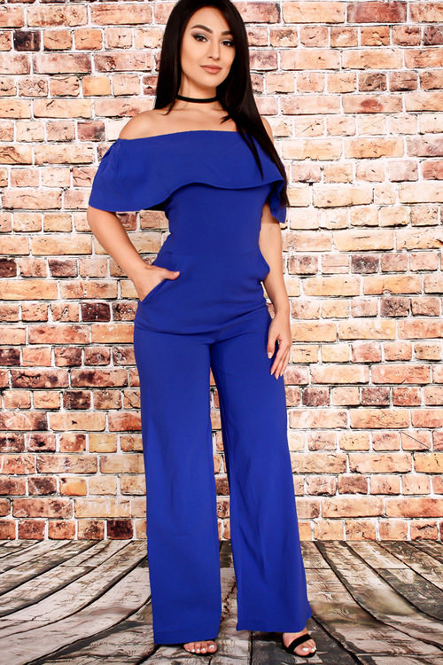 Women Jumpsuit Rompers Long Pants Ladies Wide Leg Jumpsuits Pants Beach Off Shoulder Ruffles Body Suit Solid Black Blue Orange