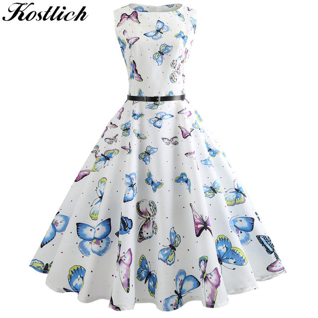 7e8bf5de602e9 US $10.99 31% OFF Kostlich Women O Neck Hepburn Vintage Dress Butterfly  Printed Big Swing Dress Summer Casual Ladies Dresses With Sashes Plus  Size-in ...