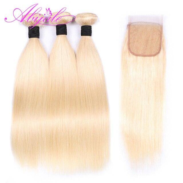 Paquetes de pelo recto Abijale con cierre 613 paquetes de pelo rubio con cierre paquetes de cabello humano con cierre Remy
