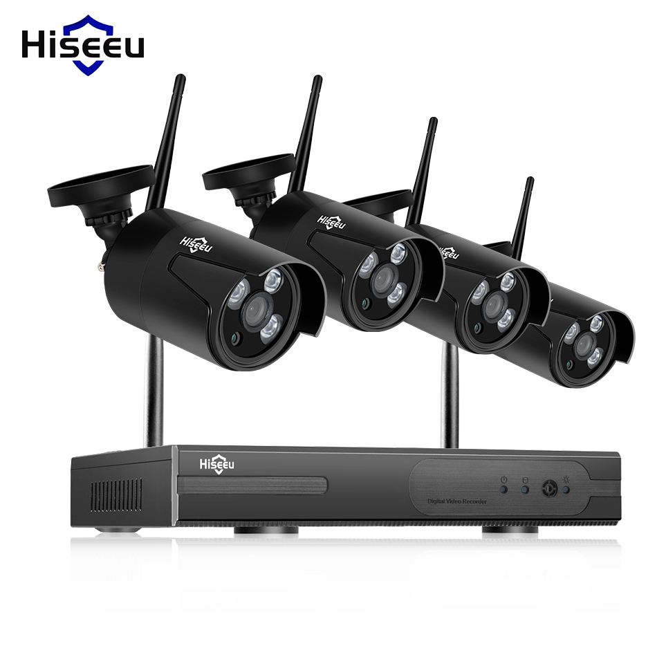 Hiseeu wireless nvr kit wifi cctv system 720P waterproof IP Camera outdoor 4ch home video surveillance system plug and play