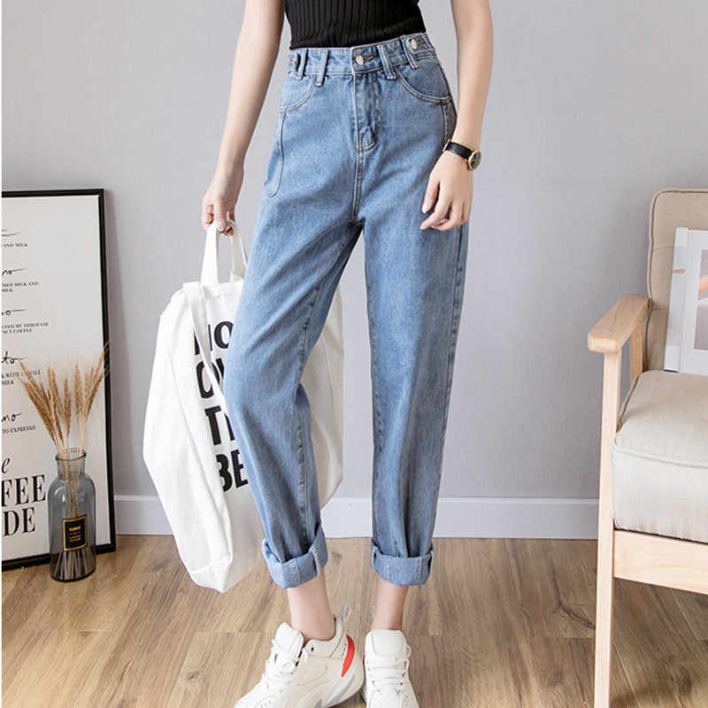 JUJULAND woman denim harem pants full length High-waiste jeans Casual classic jeans 2019 summer ladies pants 9910