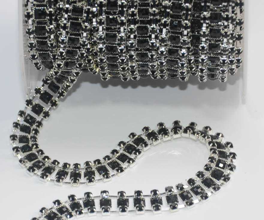 Detail Feedback Questions about 5yards lot Black square glass rhinestone  bead trim chain strass crystal banding applique diamond mesh for clothes  shoe ... f66340239729