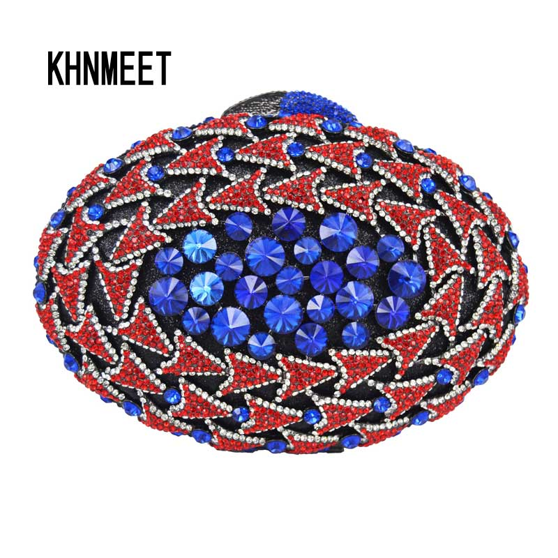 Oval Blue Red Crystal Luxury Evening Bag Women Party Diamond Purse Wedding Box packet Ladies Feast Handbags pochette Purse SC547 brand designer luxury crystal multicolor clutch bag women diamond evening bag golden oval wedding banquet purse handbags sc467