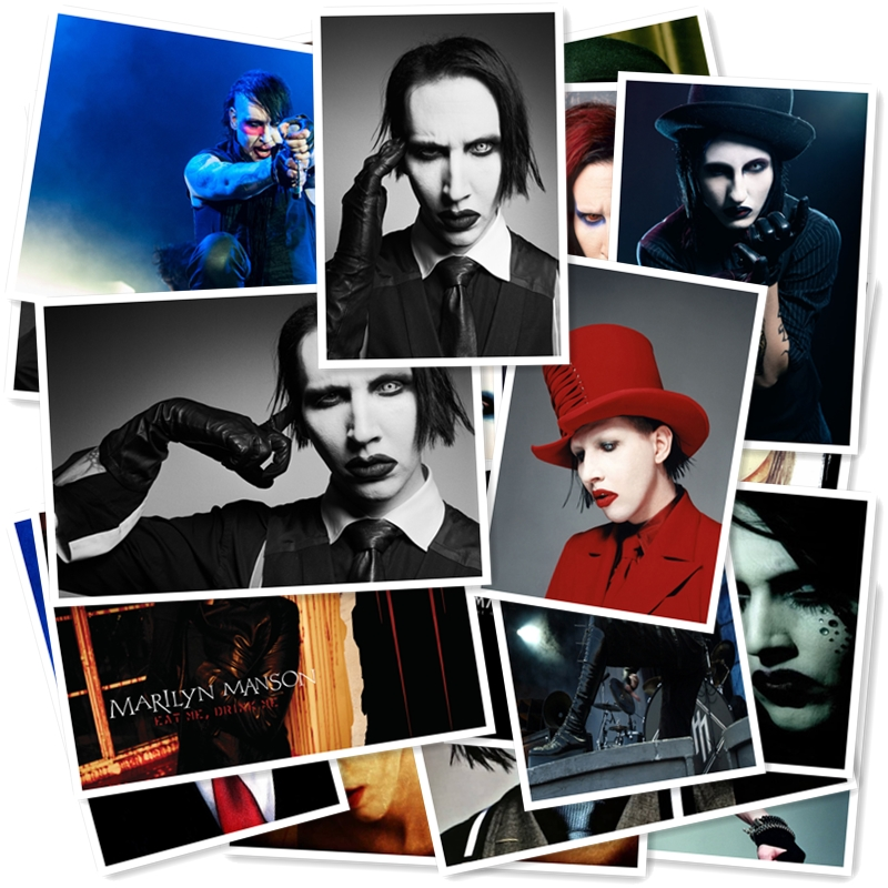C1-14# Marilyn Manson Classic Band Series Sticker 20/pcs PVC Laptop Collection Gift Home Decor Fridge Styling Mixed Stickers