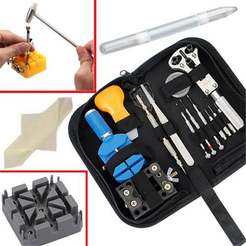 Best Promotion Watch Repair Tool Set Kit In Pouch Pin Back Remover Opener Holder Tweezer Hammer high quality professional 20 pcs watch repair tool kit set with bag link pin remover case opener watch hand remover