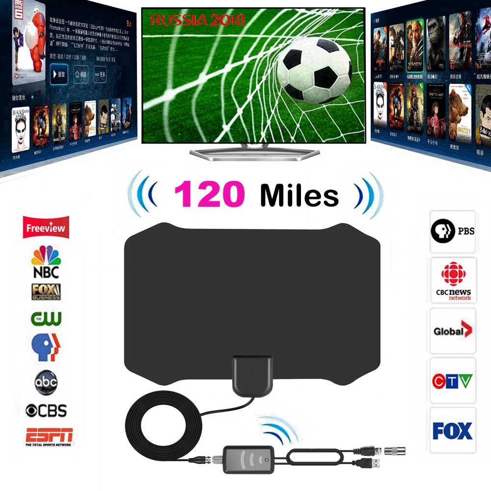 120 Miglia Antena Digital HDTV Indoor Antenna TV con Amplificatore Ripetitore del segnale TV Raggio Surf Volpe Antena TV HD Antenne antenna