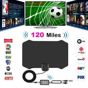 120 millas Antena Digital HDTV Antena TV interior con amplificador Booster TV radio Surf zorro Antena HD antenas de TV aérea