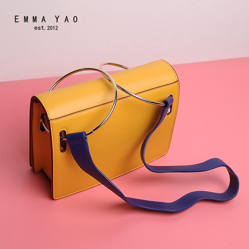 EMMA YAO leather women bag fashion korean crossbody bag new design women shoulder bag