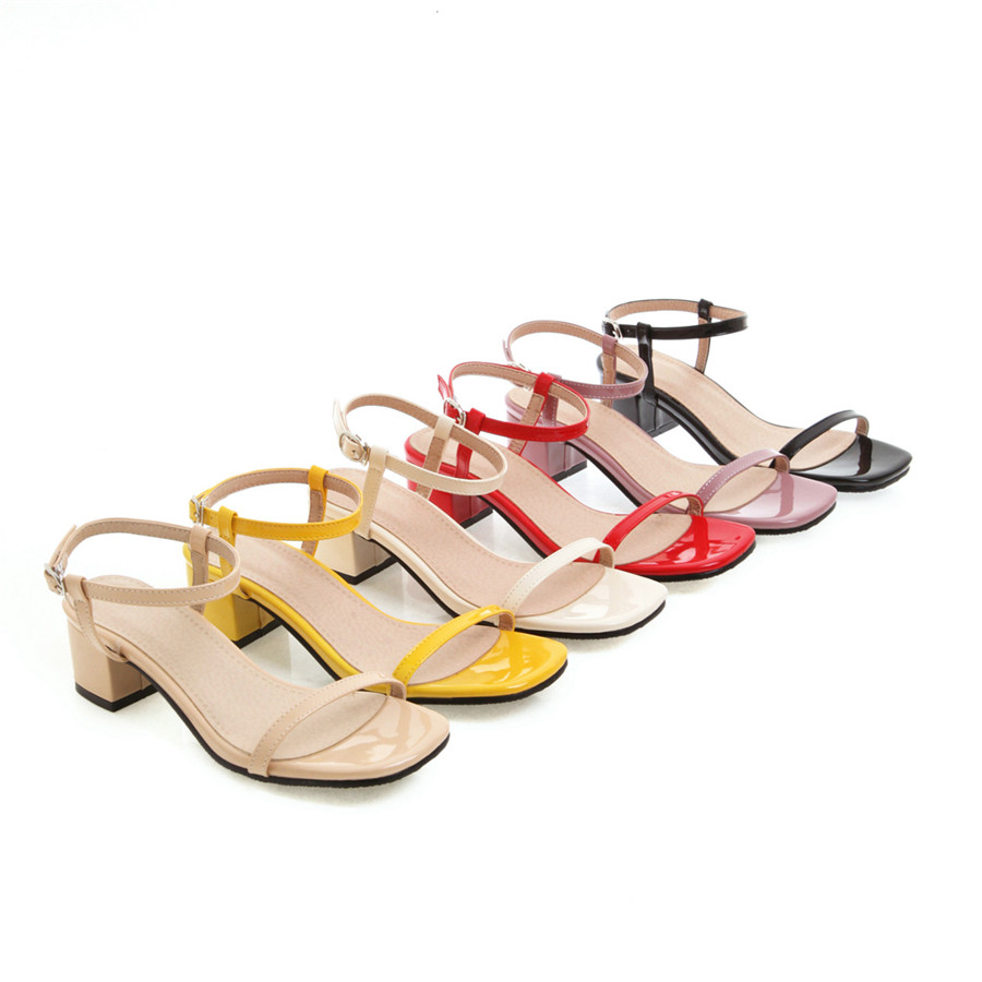 2019 summer sexy open toe women's sandals feet bare buckle square head patent leather shoes rubber soles with women's sandals